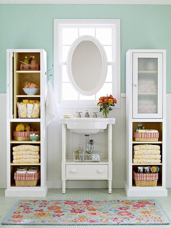 pretty  functional Bathroom Storage Ideas  The Inspired Room