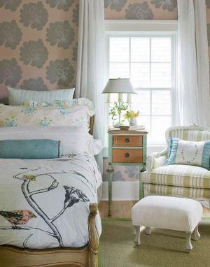 bed behind bedroom inspired