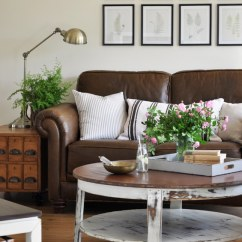 Leather And Fabric Sofa In Same Room Karlstad Decorating With {the New Sofa} - The Inspired