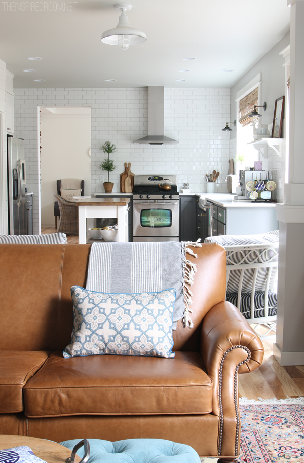 how to decorate a living room with dark brown couch photos of rooms leather furniture february house fluffing {leather, copper & wood} - the ...