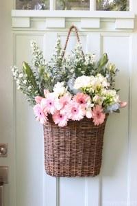 Fresh Cut Spring Flowers in a Door Basket - The Inspired Room