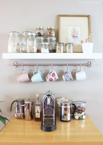 DIY Mug Rack Coffee Station