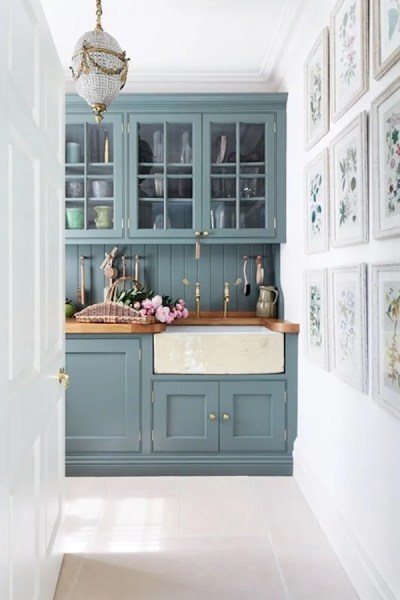 stone blue farrow and ball kitchens Colored Kitchen Cabinets: Inspiration - The Inspired Room