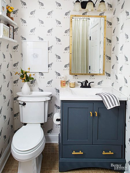 Navy blue and gold bathroom vanity