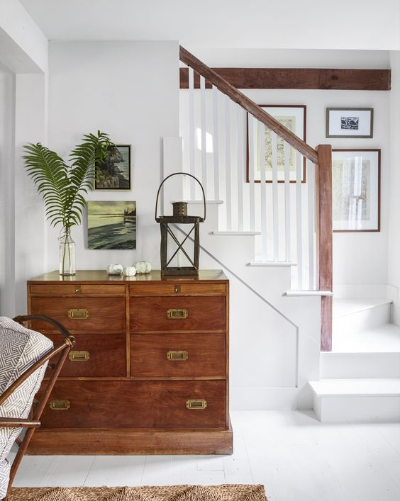 Small New England Cottage Tour The Inspired Room | Staircases For Small Cottages | Open | Small Footprint | Skinny | Corner | Wooden