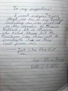 New Letter From Steven Avery