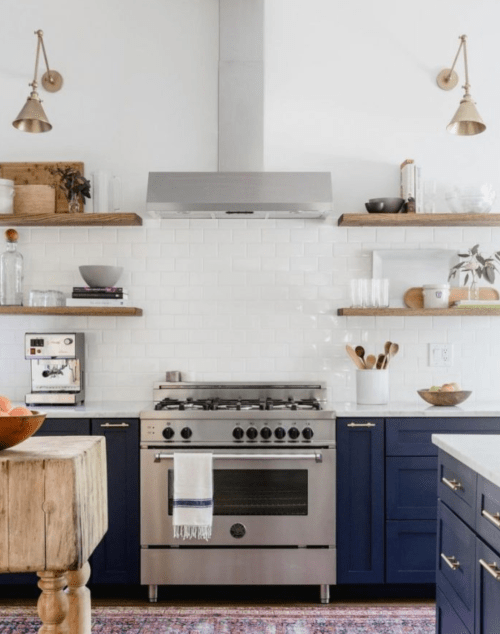 floating shelves navy cabinets kitchen inspiration ideas