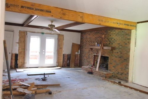cary house flip remove a wall install a beam open layout supporting engineer