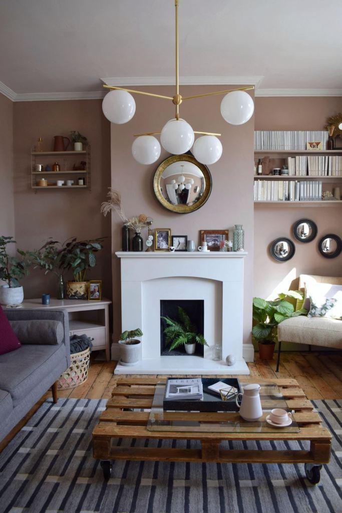 modern-brass-Scandinavian-Living-Room-makeover-muted-pink-neutrals-mid-century-simple-design-West-Elm-Farrow-Ball-Dead-interior-design-ideas-and-inspiration