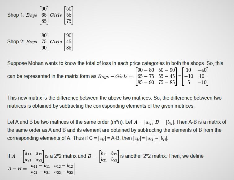 7.1 Subtraction of Matrix