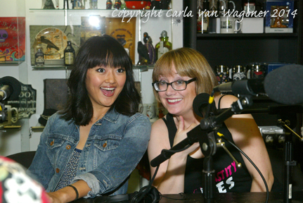 Amy Okuda and Lotti Pharriss Knowles participate in the Chastity Bite's podcast round table prior to the Chastity Bites DVD signing at Dark Delicacies in Burbank, CA on Feb. 16, 2014. Photo/Carla Van Wagoner-The IntelleXual