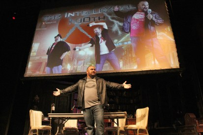 David S. Dawson welcomes everyone to the 100th episode of The IntelleXual Podcast at The Horton Grand Theatre in San Diego, CA June 14, 2015.
