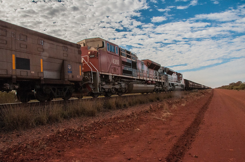 Trains on the Newman to Port Hedland Railway in Australia