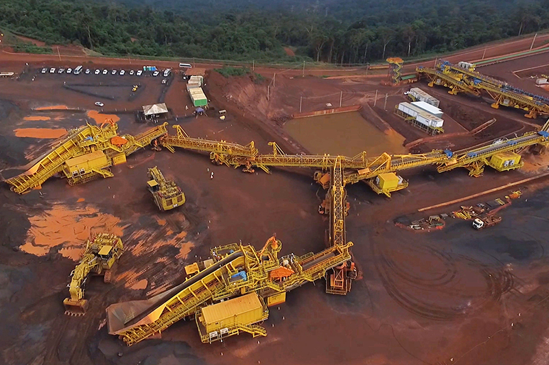 An aerial view of in pit crushing and conveying operations at Vale's S11D mine