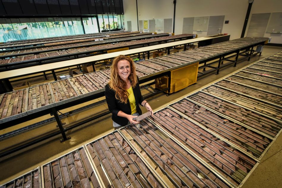 Holly Bridgwater at the South Australia Drill Core Reference Library