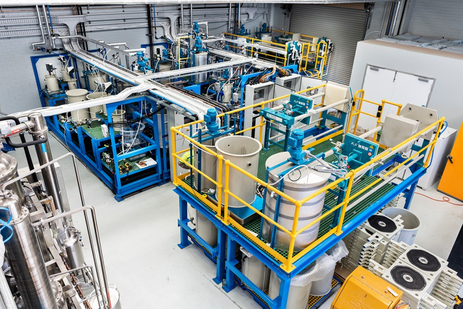 Photo inside an industrial facility with equipment from Lepidico's L-Max pilot plant. Image: Lepidico