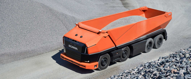 Small scale operations and equipment (like Scania's innovative AXL truck) could allow mines to be more flexible and responsive to market signals. Image: Scania