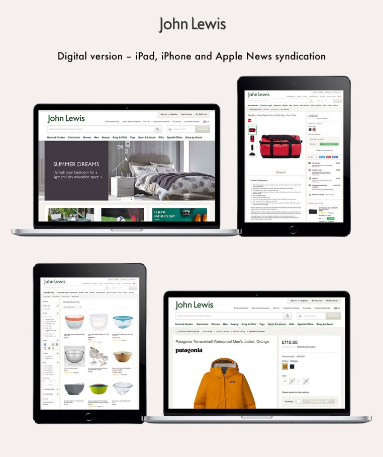 John Lewis replatform project desktop and mobile site