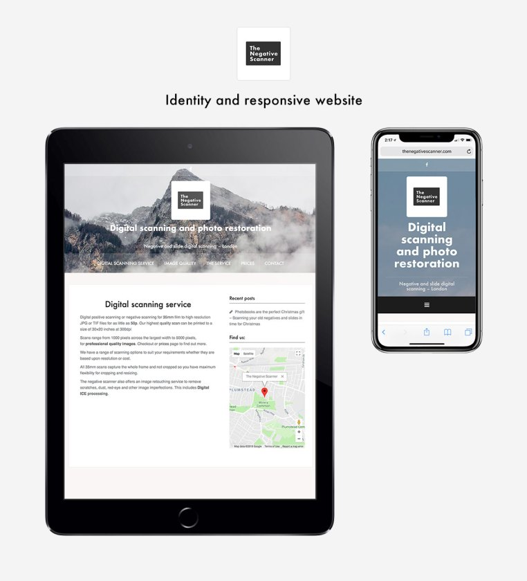 The negative scanner responsive website and brand identity