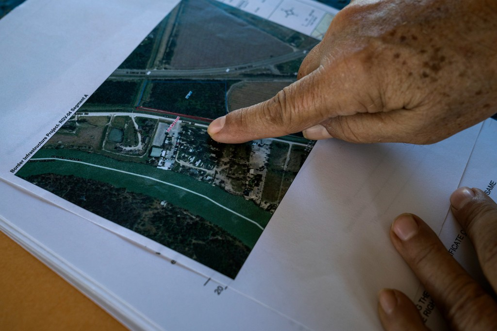Fred Cabazos, 69, show a map of his property where CBP has said the new boder wall will be bult in Mission, Tex. on Nov. 6, 2018.Photo: Verónica G. Cárdenas for The Intercept