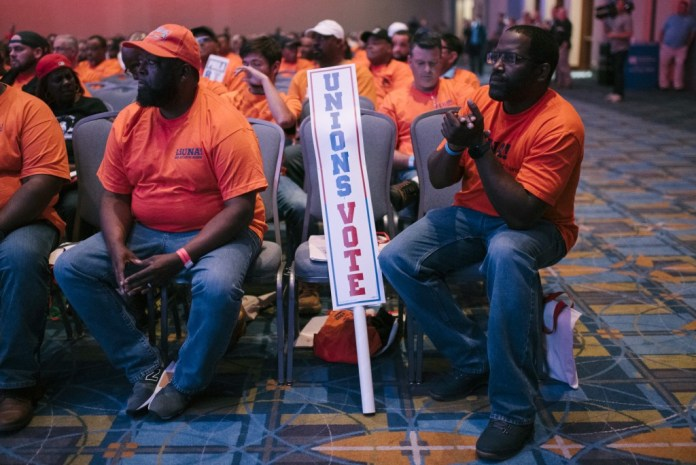 Laborers' International Union of North America (LIUNA) Local 332 members listen to presidential candidate Joe Biden speak at the Workers' Presidential Summit in Philadelphia, PA on Tuesday, September 17, 2019. The primary focus was on how the presidential candidates would support unions and their workers. Hannah Yoon for The Intercept