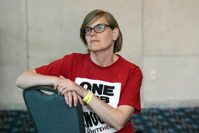 UniteHere Local 274 president Rosslyn Wuchinich sits for a portrait at the Workers' Presidential Summit in Philadelphia, PA on Tuesday, September 17, 2019. The primary focus was on how the presidential candidates would support unions and their workers.Hannah Yoon for The Intercept
