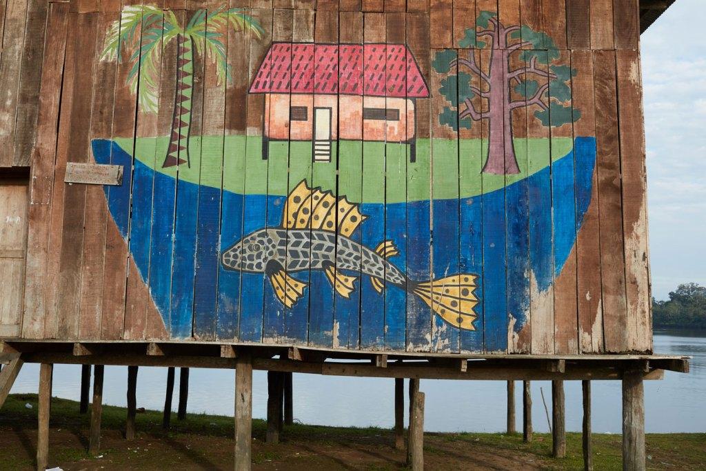DOS DE MAYO, PERU – JULY 17, 2017: A mural in the Kakuma village of Dos de Mayo, in the State of Loreto, Puru on July 17, 2017. (Photo by Ben Depp)