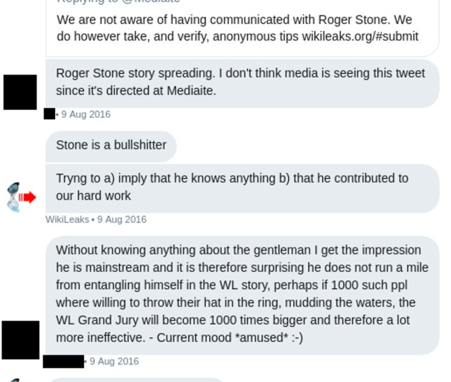 In The Private Twitter Group Wikileaks Dismissed Stones Claims Just As It Had Publicly Stone Is A Bullshitter Assange Posted