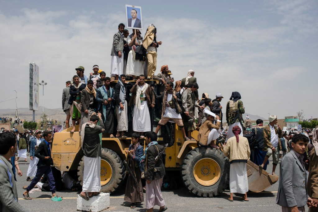 Supporters of the Houthis gather for prayer and the funeral of Salah al Samad, a Houthi political leader who was killed in an airstrike, April 28 in Sana'a, Yemen
