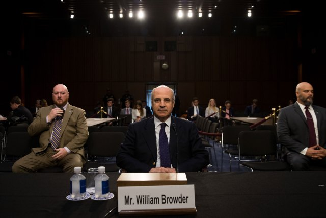 WASHINGTON, DC - JULY 27: William Browder, chief executive officer of Hermitage Capital Management, takes his seat as he arrives for a Senate Judiciary Committee hearing titled'Oversight of the Foreign Agents Registration Act and Attempts to Influence U.S. Elections' in the Hart Senate Office Building on Capitol Hill, July 27, 2017 in Washington, DC. On Tuesday, the committee withdrew its subpoena for former Trump campaign chairman Paul Manafort as he agreed to turn over documents and continue negotiating about being interviewed by the committee. (Photo by Drew Angerer/Getty Images)