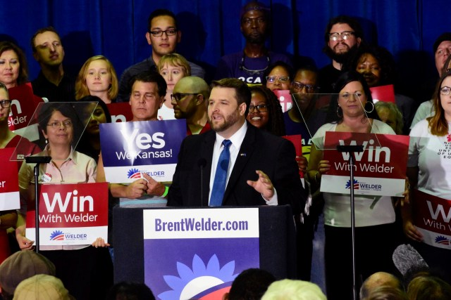 Brent Welder, a labor lawyer running in a Democratic primary in Kansas' 3rd District, speaks at Jack Reardon Convention Center on Friday, July 20, 2018, in Kansas City, Kan. (Luke Harbur /The Kansas City Star via AP)