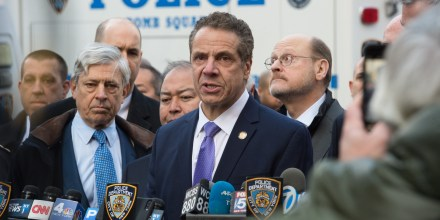 "NY Governor Andrew Cuomo speaks at a press conference as police respond to a reported explosion at the Port Authority Bus Terminal on December 11, 2017 in New York.Four people were injured Monday in the blast that rocked a subway station in the heart of Manhattan, in what the city's mayor said was an ""attempted terrorist attack."" The blast -- which took place in the station at the Port Authority bus terminal, not far from New York's iconic Times Square -- sparked commuter panic and travel disruptions. / AFP PHOTO / Bryan R. Smith (Photo credit should read BRYAN R. SMITH/AFP/Getty Images)"