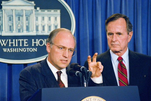 Rep. Dick Cheney, R-Wyo., President George H.W. Bush's choice to become Defense Secretary meets with reporters after the president made the announcement on Friday, March 10, 1989 at the White House in Washington. (AP Photo/Ron Edmonds)