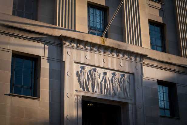 The entrance to the Department of Justice in Washington, March 15, 2018. For years, employees in the Justice Department's death penalty unit complained about the behavior of the head of the division, Kevin Carwile, and what they viewed as a toxic culture. (Al Drago/The New York Times)