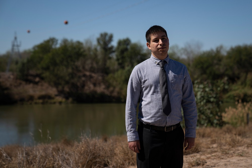 Ricky Garza, attorney at Texas Civil Rights Project, poses for a photo in front of the Rio Grande in Los Ebanos, Tex., on Feb. 13, 2020.Verónica G. Cárdenas for The Intercept
