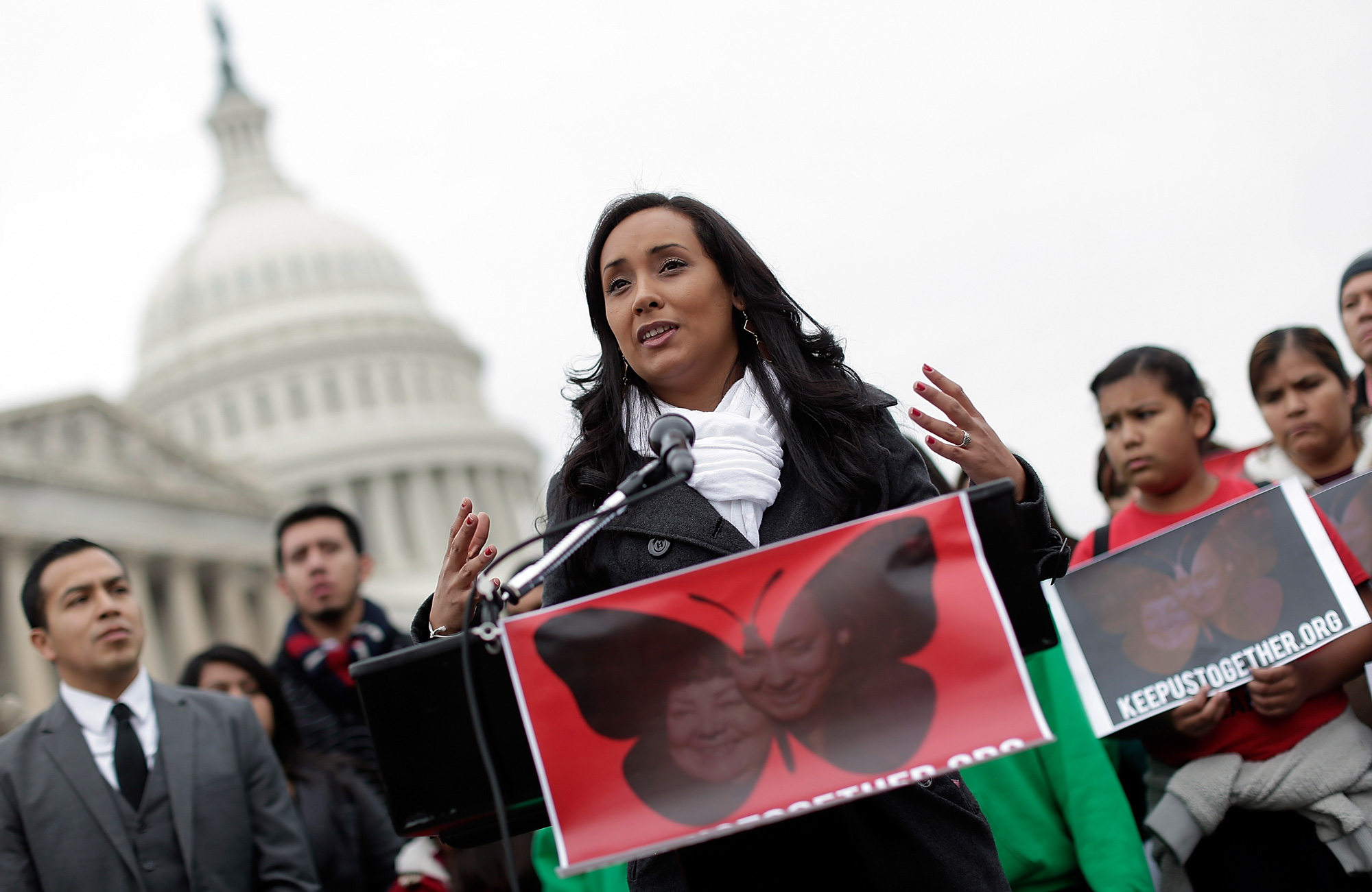 Erika Andiola, who recently resigned her position in the congressional office of Rep. Rep. Kyrsten Sinema (D-AZ), speaks at a press conference held by the Dream Action Coalition on immigration reform December 4, 2013 in Washington, DC. Andiola's mother, Maria Andiola, faces deportation proceedings being conducted by Immigration and Customs Enforcement. (Photo by Win McNamee/Getty Images)