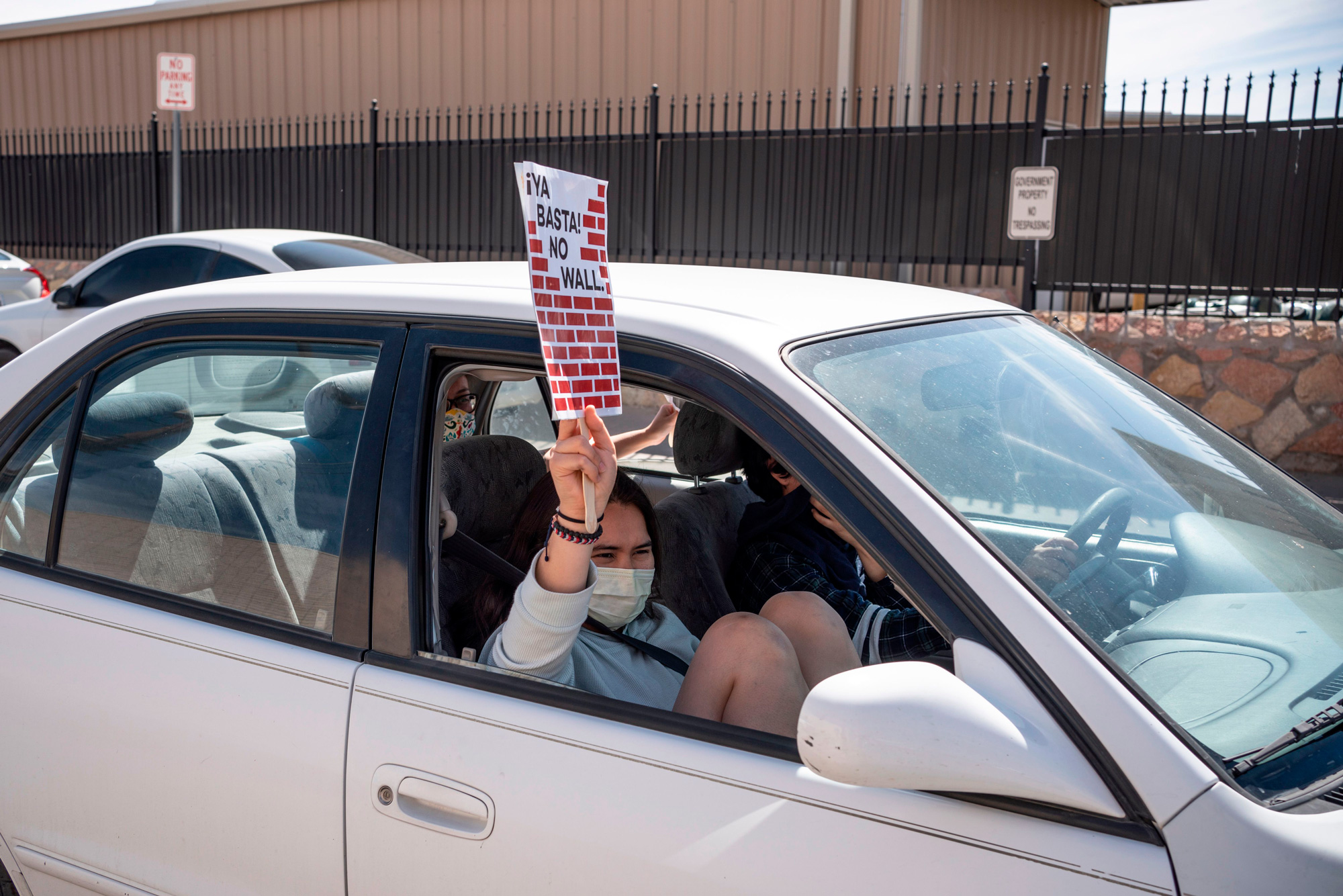 Protesters drive in a caravan around Immigration and Customs Enforcement El Paso Processing Center to demand the release of ICE detainees due to safety concerns amidst the COVID-19 outbreak on April 16, 2020 in El Paso, Texas. - One detainee has already tested positive in the nearby Otero County Processing Center in New Mexico, and more cases are feared to appear in the detention centers where social distancing is often not an option. (Photo by Paul Ratje / Agence France-Presse / AFP) (Photo by PAUL RATJE/Agence France-Presse/AFP via Getty Images)