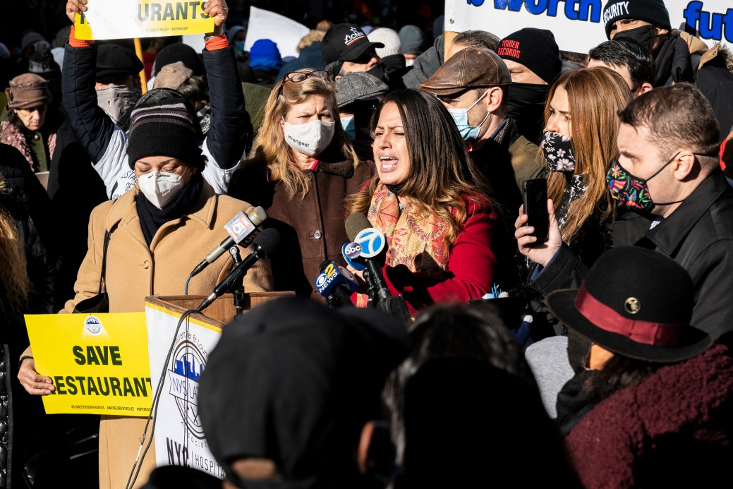 Assembly member Catalina Cruz speaks as hundreds of restaurant owners and workers rally in Times Square in New York on December 15, 2020 to protest Governor Andrew Cuomo's closure of indoor dining and demand a bailout that'll save their livelihoods. (Photo by Lev Radin/Sipa USA)(Sipa via AP Images)