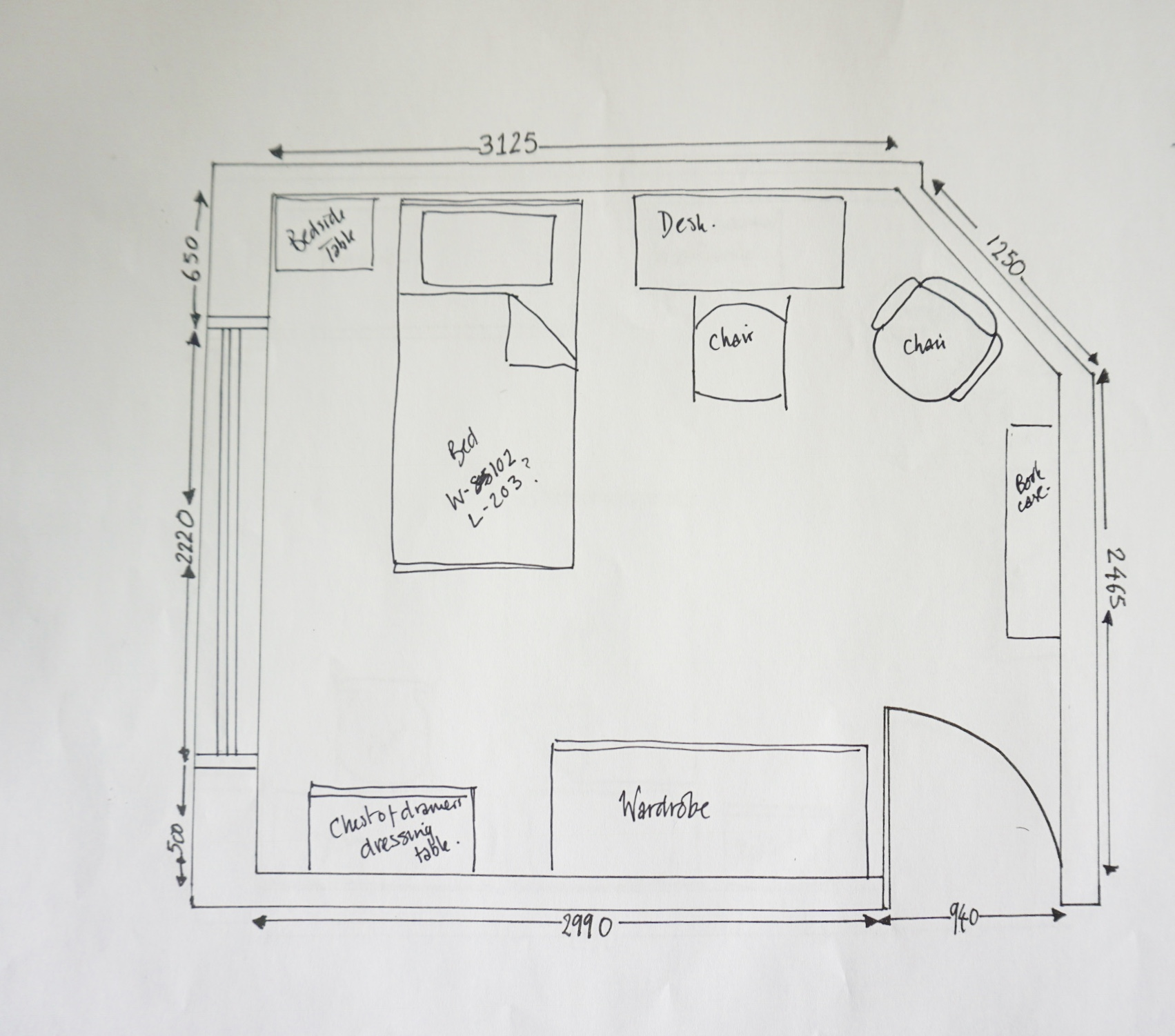 Rough Drawn Furniture Layout Using A Copy Of The Master Floor Plan.