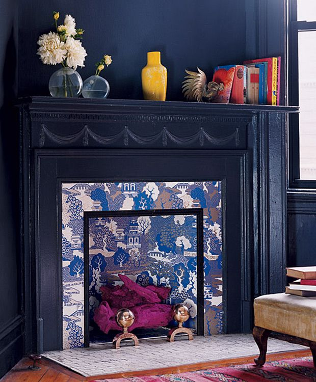 Use pattern to help create a focal point in a room. Fireplaces are a great example of where to incorporate some captivating pattern. If you've moved over to the dark side, then highlighting an area using pattern as a focal point in the room, will help visually lift the space, and help provide some depth and interest.