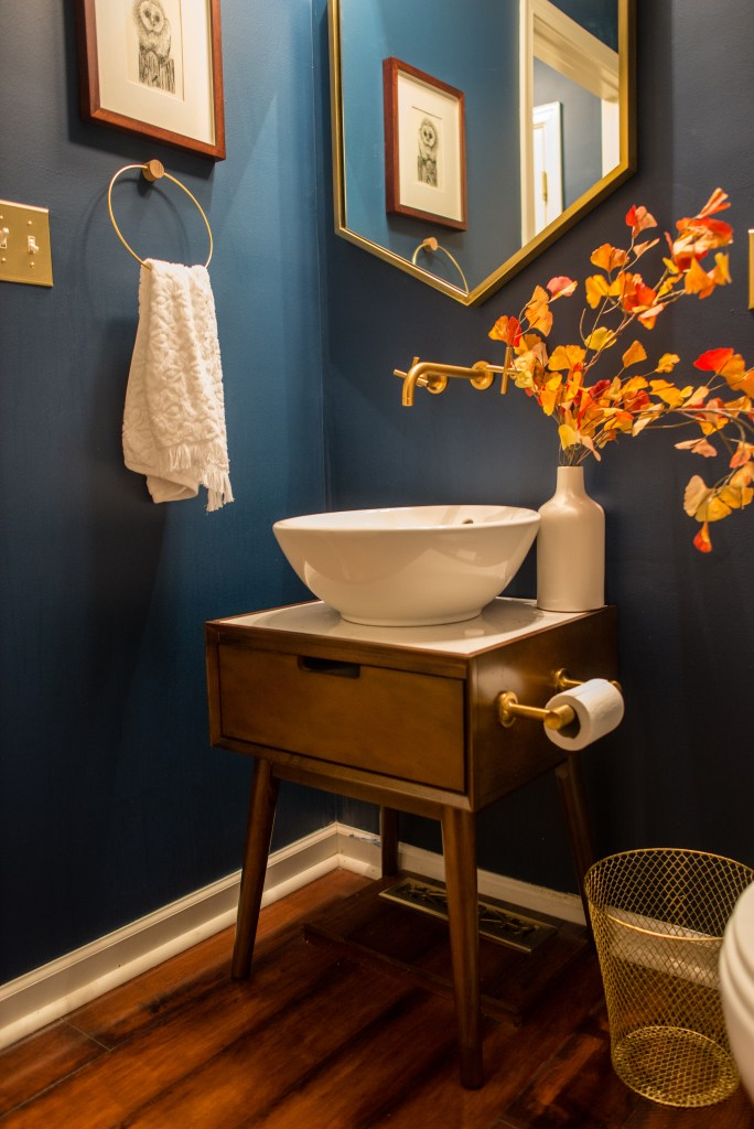 12 Essential Design Tips To Help Update Your Home | Up-cycled furniture to create a unique sink unit for a powder room.