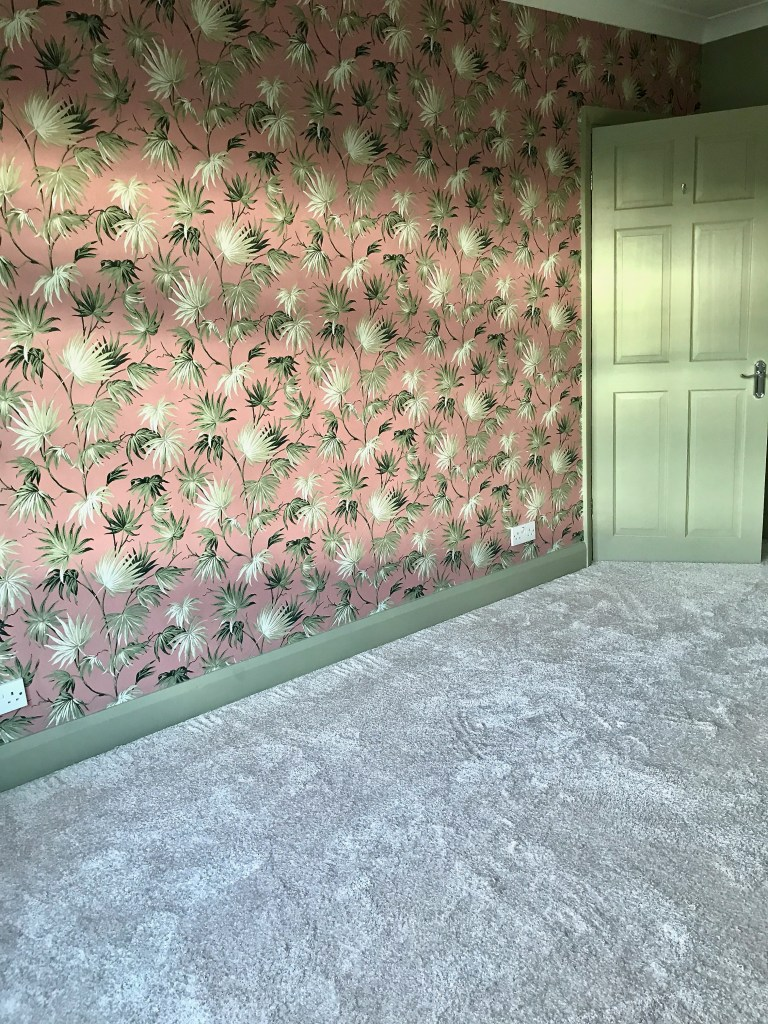Our Decadent, Elegant Art Deco Inspired Bedroom Makeover - The Reveal! Feature wall using Va Va Frome Wallpaper - Pearl Lowe Collection - Woodchip & Magnolia We chose to carpet the bedroom to add softness underfoot as well as sound proofing qualities. Carpet from Finishing Touch