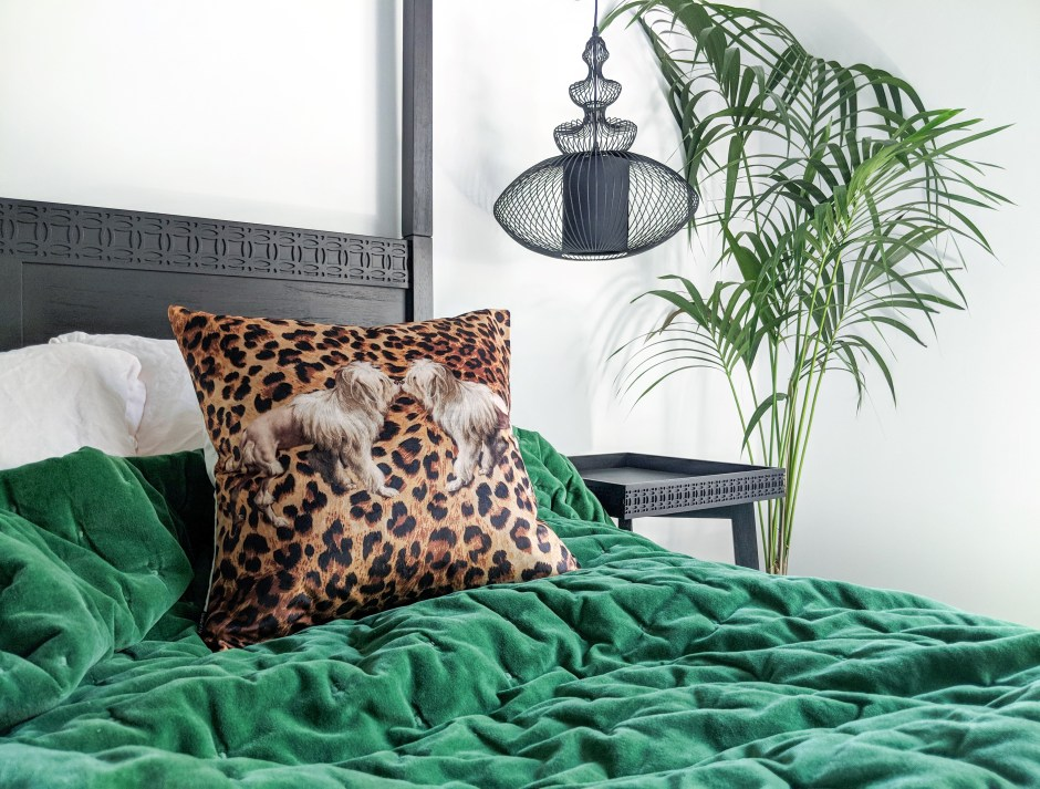 12 Essential Design Tips To Help Update Your Home | Try introducing colour and pattern with small details such as soft furnishings. This Velvet Emerald Green Bedspread from The French Bedroom Company.