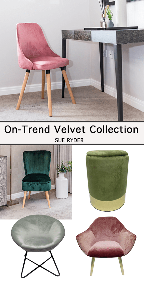 Affordable On-Trend ​Velvet Furniture From Sue Ryder | A range of on-trend velvet furniture that will help those of you seeking the luxe look on a budget.  If that wasn't enough each design is available in the latest colours from rose pinks, greens (my favourite) to cool greys for those that like a more neutral palette. All profits go towards the Sue Ryder charity.