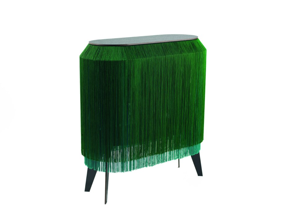 The Fringe Trend For Your Homes | Ibride Fringed Bedside cabinet in green is an eye catching furniture pieces that adds an air of exuberance and decandence. Its a fun quirky piece that is also provides functional storage.