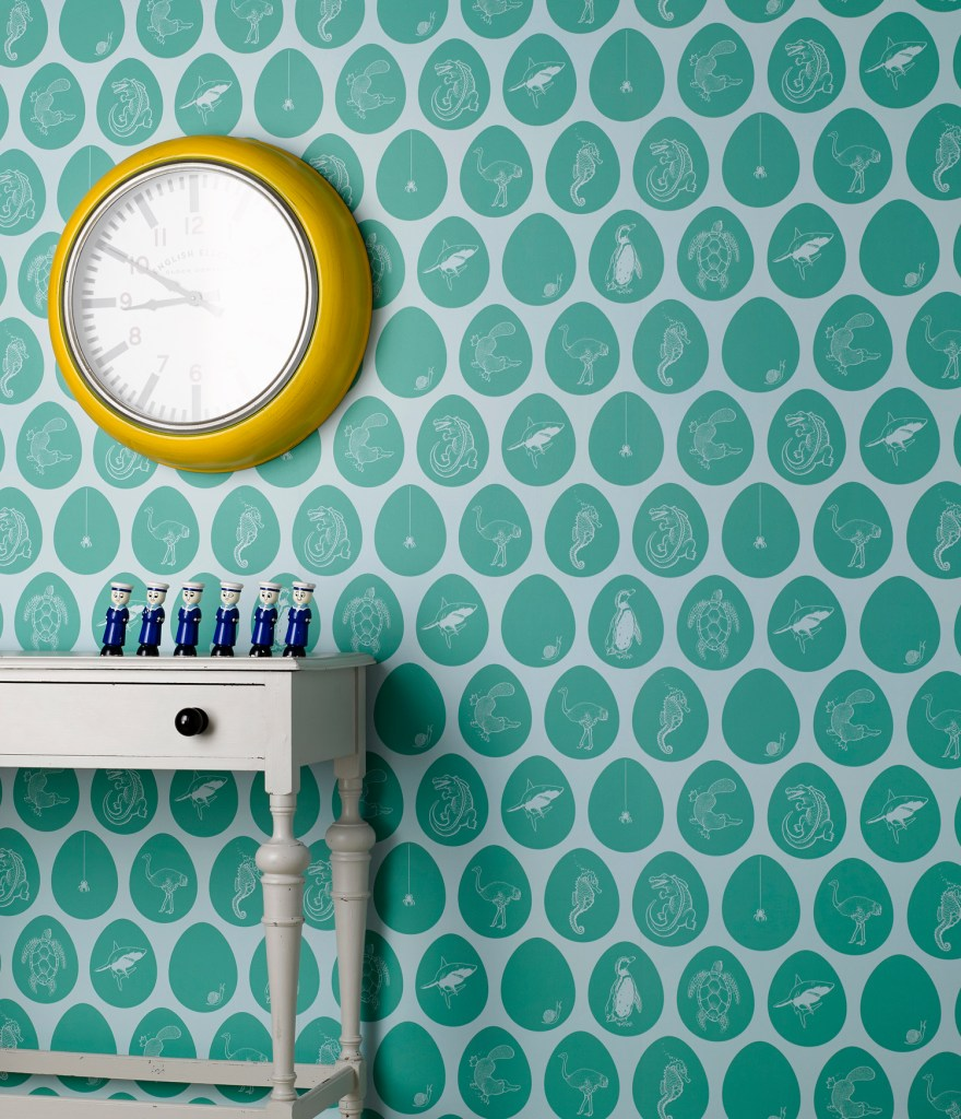 "How To Use Neo Mint - The Colour of 2020 - Neo Mint wallpaper ""Which came First"" by Paperboy Interiors"