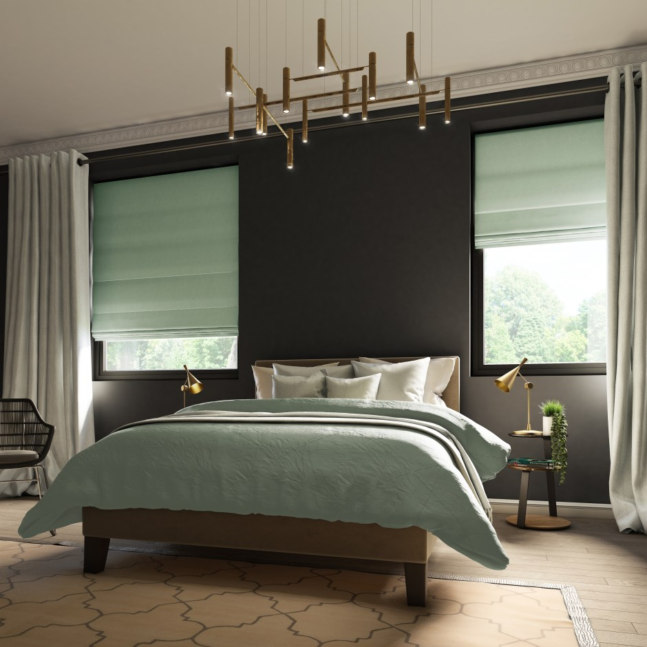 Neo Mint - The Colour of 2020 - Neo Mint roman blinds add a refined look to dark styled bedrooms.