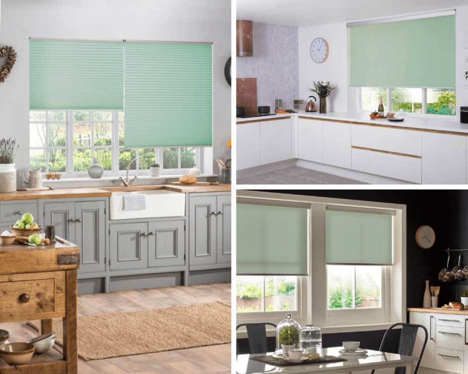 How To Use Neo Mint - The Colour of 2020 - Neo mint blinds add a touch of fresh clean colour to kitchens and bathrooms.