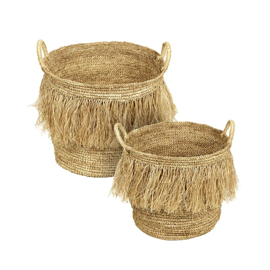 The Fringe Trend For Your Homes | Hula natural fringe baskets from the Farthing.