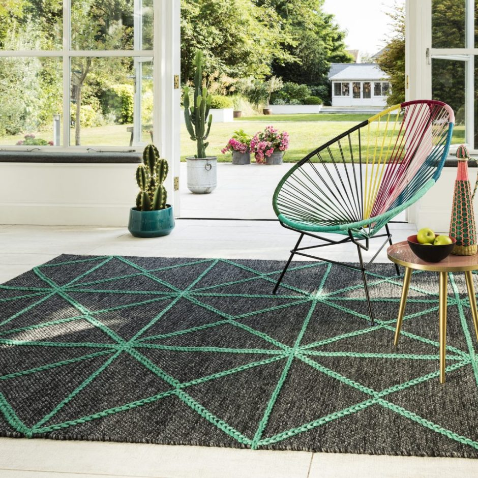 How To Use Neo Mint - The Colour of 2020 - Prism rug in Green introduces Neo Mint with complimentary grey to your home decor.